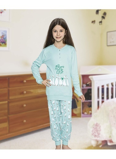 Aydoğan Kız Çocuk Garson İnterlok Uzun Kollu Pijama Takımı Renkli